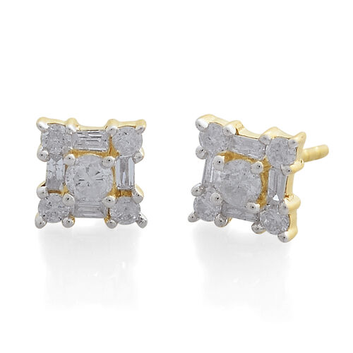 9K Yellow Gold SGL Certified Diamond (Rnd) (I3/G-H) Earrings (with Push Back) 0.500 Ct.