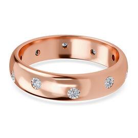 MP White Diamond Flush Setting Ring in Rose Gold Sterling Silver
