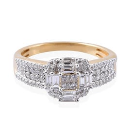 ILIANA 1 Carat Cluster Ring in 18K Gold 5.50 Grams IGI Certified SI GH
