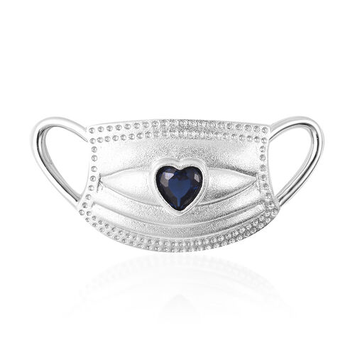 Simulated Blue Sapphire Heart on Mask Charm or Pendant in Rhodium Overlay Sterling Silver
