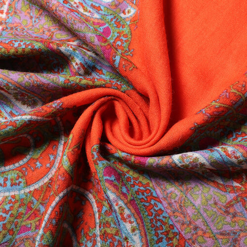 100% Wool Floral and Polka Dot Print Scraf (66x175+9cm) -Brown