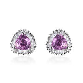 RHAPSODY 1.40 Ct AAAA Pink Sapphire and Diamond Stud Halo Earrings in 950 Platinum VS EF
