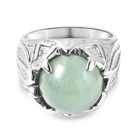 Green Aventurine  Ring Pure White Stainless Steel  0.01 ct  0.010  Ct.