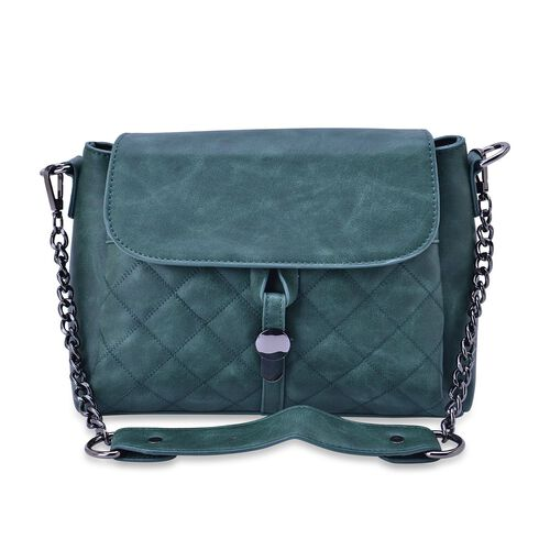 Designer Inspired Green Colour Diamond Cut Pattern Handbag with Adjustable and Removable Shoulder Strap (Size  27.5x21x12 Cm)