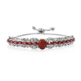7.5 Ct Red Jade and Simulated Garnet Adjustable Bolo Bracelet in Silver Tone