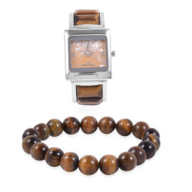 2 Piece Set- STRADA Japanese Movement Bangle Watch  with  Tiger Eye Round Bead Stretchable Bracelet 171.00 Ct.