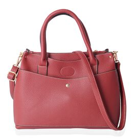 Sassy Red Colour Multi Compartment LargeTote Bag with Removable Shoulder Strap Size 32x23x13 Cm