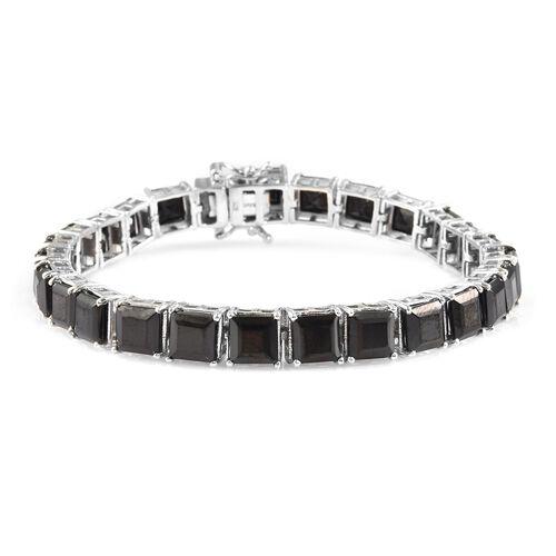 Elite Shungite Bracelet (Size 7.5) in Platinum Overlay Sterling Silver 18.00 Ct, Silver wt 14.00 Gms