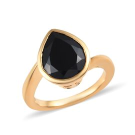 Boi Ploi Black Spinel (Pear 12x10 mm) Solitaire Ring in 14K Gold Overlay Sterling Silver 4.50 Ct.