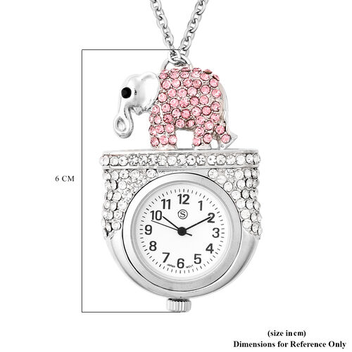 STRADA Japanese Movement Multi Colour Austrian Crystal Studded Water Resistant Elephant Pocket Watch with Chain (Size 29) in Silver Tone