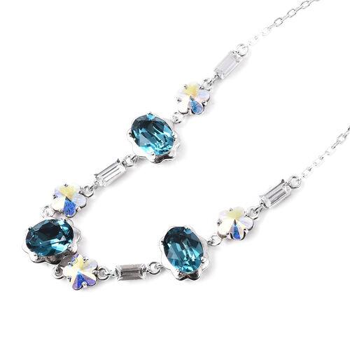 J Francis - Blue Swarovski Zirconia (Ovl), Simulated Mystic White Crystal and White Swarovski Crystal Adjustable Bracelet (Size 6.5-9) in Rhodium Overlay Sterling Silver