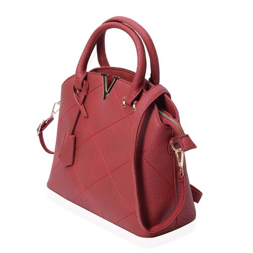 Glamour Red City Tote Bag with External Zipper Pocket and Removable Shoulder Strap (Size 32x25x12x10 Cm)