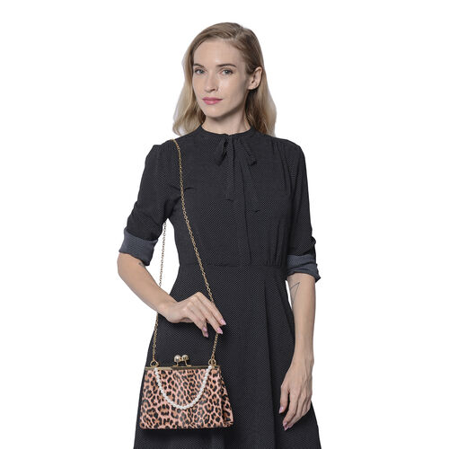 Pink Leopard Pattern Clutch Closure Crossbody Bag with Dangling Pearl Chain and Metallic Shoulder Strap in Gold Tone
