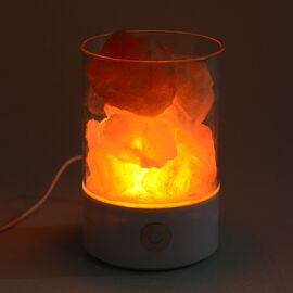 Himalayan Rock Salt Lamp with USB Cable (Size 9.4x6.4x14 Cm) - White