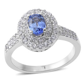 Signature Collection - Extremely Rare Ceylon Sapphire (Ovl 1.05 Ct), Natural Zircon Double Halo Ring
