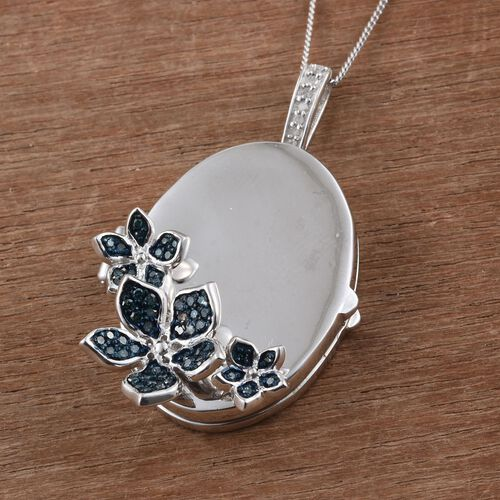 Kimberley forget Me Not Collection - Blue Diamond (Rnd), White Diamond Floral Pendant with Chain in Platinum Overlay Sterling Silver 0.330 Ct.