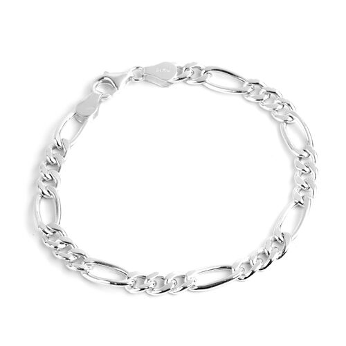 Made In Italy- Special Edition- Sterling Silver Figaro Bracelet (Size 7.75), Silver wt 4.76 Gms