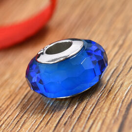 Charmes De Memoire Blue Murano Style Glass Beads Charm in Platinum Plated Sterling Silver