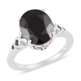 2 Carat Shungite Solitaire Ring in Platinum Plated Silver