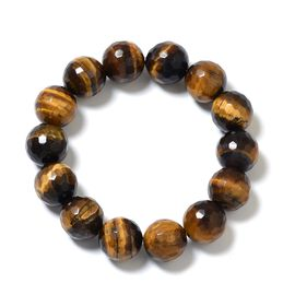 Rare Size Tigers Eye (Rnd) Stretchable Bracelet 382.000 Ct.