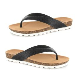 Ella Carly Sparkly Toe Post Sandals in Black Colour