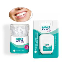 Safe & Sound Dental Care Set - (Dental Floss 50m and Dental Floss Picks 40 Pack)