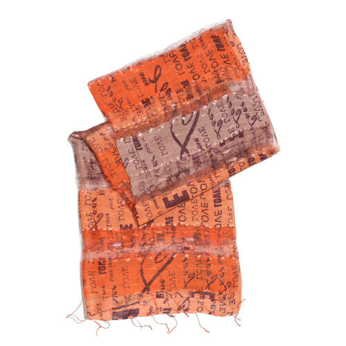 New Season-30% Silk Orange and Multi Colour Love Stamped Scarf with Tassels (Size 180X60 Cm)
