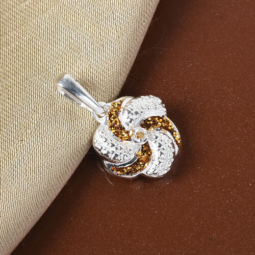 Yellow Diamond Swirl Design Pendant in Sterling Silver