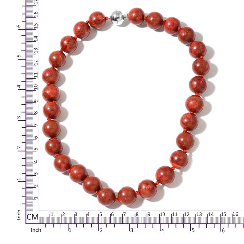 Coral (Rnd 15-16mm)  Necklace (Size 20) with Magnetic Clasp in Rhodium Plated Sterling Silver