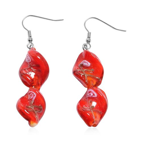 2 Piece Set - Red Colour Murano Glass Beads Necklace (Size 20 with 3 inch Extender) and Hook Earrings in Stainless Steel
