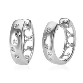 One Time Deal Diamond (Rnd) FLUSH Set Hoop Earrings (with Clasp) in Platinum Overlay Sterling Silver