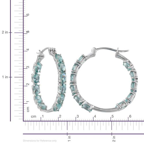 Paraibe Apatite (Ovl) Hoop Earrings (with Clasp) in Platinum Overlay Sterling Silver 9.250 Ct.