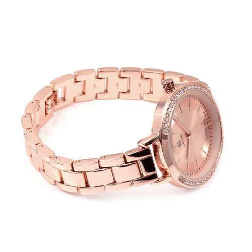 STRADA Japanese Movement White Austrian Crystal Studded Water Resistant Watch with Rose Gold Strap
