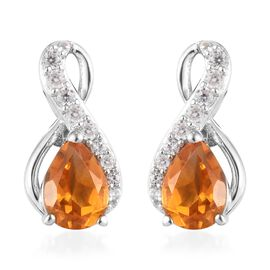 Rhapsody Brazilian Citrine (1.05 Ct),Cambodian Zircon Platinum Overlay Sterling Silver Earring  1.36