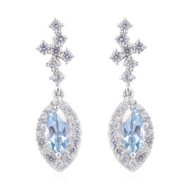 Espirito Santo Aquamarine (Mrq), Natural Cambodian Zircon Earrings (with Push Back)  in Platinum Overlay Sterling Silver 3.500 Ct.