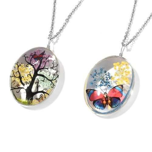New Concept- Set of 2- Diaroma  Pendant With Chain (Size 24) with Tree and Butterfly Theme in Silver Plated