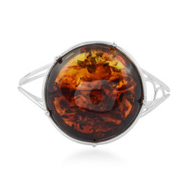 Baltic Amber (Rnd) Bangle (Size 7.25) in Sterling Silver, Silver wt 35.00 Gms