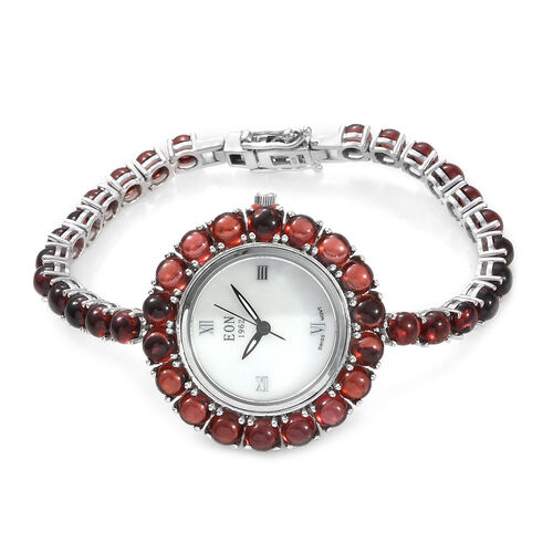 EON 1962 Mozambique Garnet (25.25 Ct) Bracelet Watch (Size 7) in Platinum Overlay Sterling Silver, S