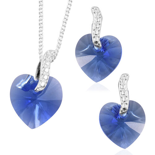 J Francis Crystal from Swarovski - Blue Sapphire Colour Crystal (Hrt) Pendant with Chain (Size 18) and Earrings (with Push Back) in Sterling Silver