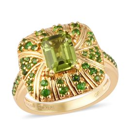 GP Hebei Peridot, Russian Diopside and Blue Sapphire Ring in 14K Gold Overlay Sterling Silver 2.22 C