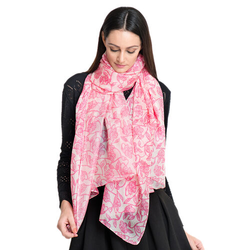 100% Mulberry Silk Pink Colour Floral Pattern White Colour Scarf (Size 180x100 Cm)