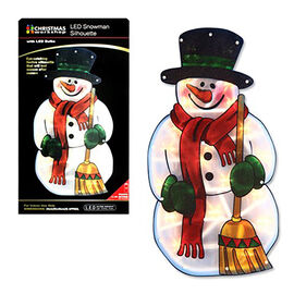 Battery Operated Snowman Metallic Silhouette  Window Light (Size 24x45 Cm)