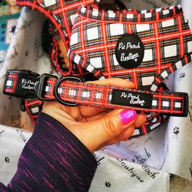 Pet Pooch Boutique- Alfies Plaid Adjustable Collar (Size Large, 70 Cm) - Red & White