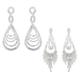 2 Piece Set -  White Austrian Crystal (Rnd) Drop and Infinity Dangle Earrings (with Push Back) in Silver Tone