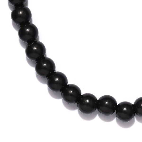 Shungite (Rnd 10mm), Russian Diopside Dragon Head Beads Necklace (Size 20) in Platinum Overlay Sterling Silver 235.20 Ct.