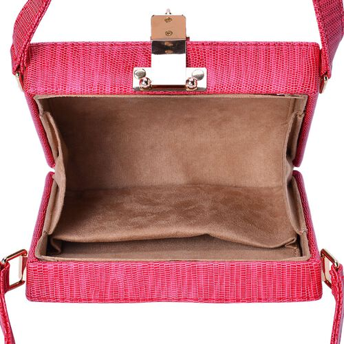Debora Lizard Look Structured Ladylike Red Colour Clutch Bag (Size 20x14x13 Cm)