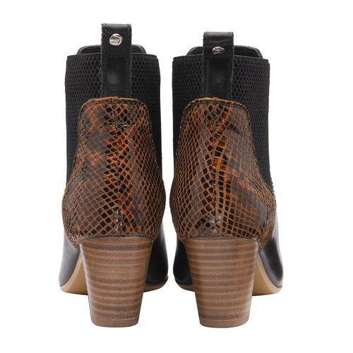 Ravel Moa Snake Pattern Leather Heeled Ankle Boots (Size 3) - Black