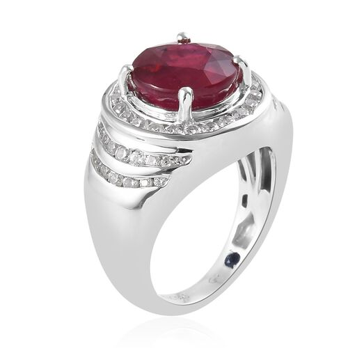 GP - African Ruby (Rnd 5.25 Ct), Natural White Cambodian Zircon and Blue Sapphire Ring in Platinum Overlay Sterling Silver 7.350 Ct.