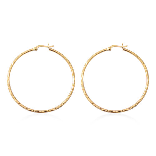 14K Gold Overlay Sterling Silver Hoop Earrings (Clasp Lock), Silver wt 5.5 gms
