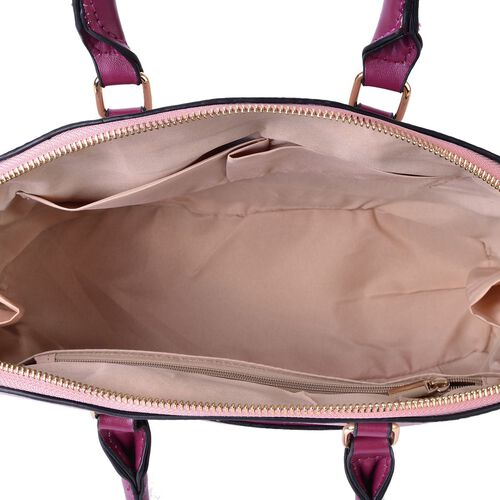 Soft Pink Snake Skin Pattern City Tote Bag (Size 32.5x25x11.5 Cm)